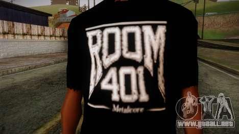 Room 401 T- Shirt para GTA San Andreas tercera pantalla