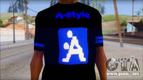 T-Shirt A-Style para GTA San Andreas tercera pantalla