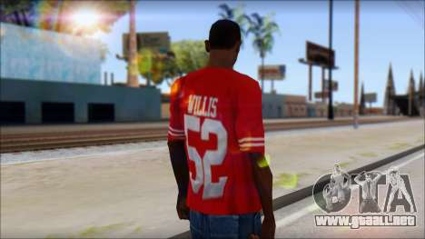 San Francisco 69ers 52 Willis Red T-Shirt para GTA San Andreas segunda pantalla