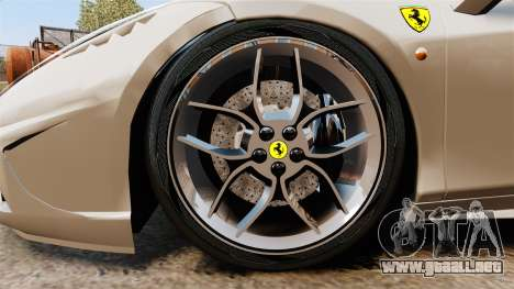 Ferrari 458 Italia Speciale Novitec Rosso para GTA 4 vista hacia atrás