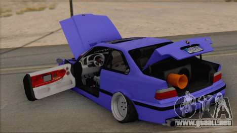 BMW M3 E36 Coupe Slammed para GTA San Andreas vista hacia atrás