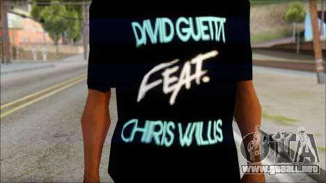 David Guetta Gettin Over T-Shirt para GTA San Andreas tercera pantalla