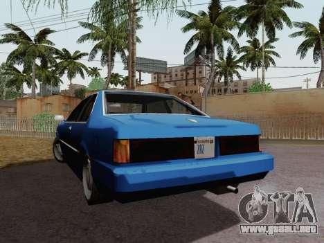 Sentinel Coupe para GTA San Andreas vista posterior izquierda