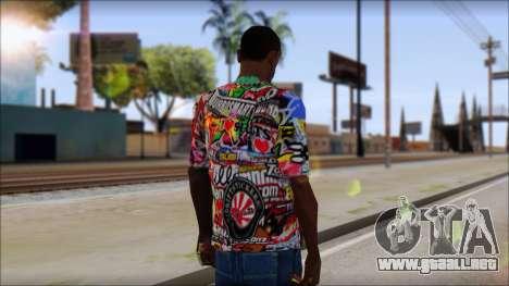 Sticker Bomb T-Shirt para GTA San Andreas segunda pantalla
