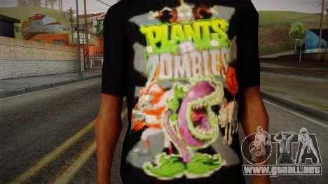 Plants versus Zombies T-Shirt para GTA San Andreas tercera pantalla