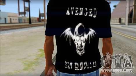 A7X Waking The Fallen Fan T-Shirt para GTA San Andreas tercera pantalla