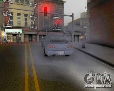 Nissan Skyline R34 Fast and Furious 4 para GTA San Andreas vista hacia atrás