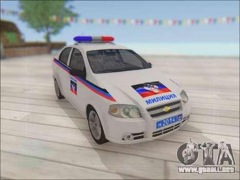Chevrolet Aveo Policía no molestar para visión interna GTA San Andreas