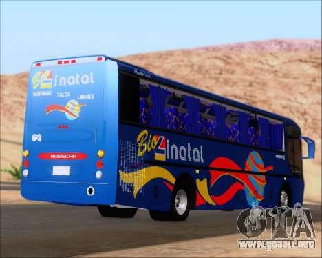 Busscar El Buss 340 Bio Linatal para GTA San Andreas vista posterior izquierda