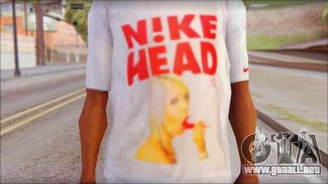 N1KE Head T-Shirt para GTA San Andreas tercera pantalla