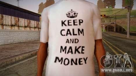 Fler Keep Calm And Make Money Shirt para GTA San Andreas tercera pantalla
