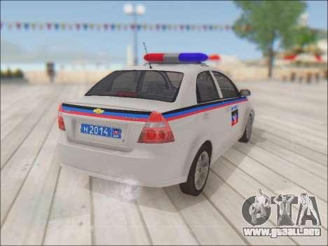 Chevrolet Aveo Policía no molestar para GTA San Andreas vista hacia atrás