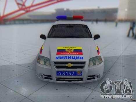 Chevrolet Aveo Милиция OHP para GTA San Andreas left