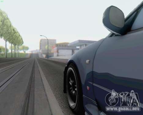 Nissan Skyline R34 Fast and Furious 4 para GTA San Andreas vista posterior izquierda