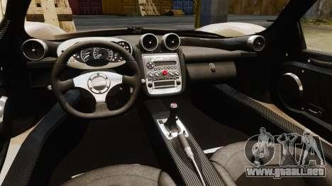 Pagani Zonda C12S Roadster 2001 v1.1 PJ2 para GTA 4 vista interior