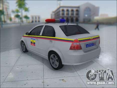 Chevrolet Aveo Милиция OHP para visión interna GTA San Andreas