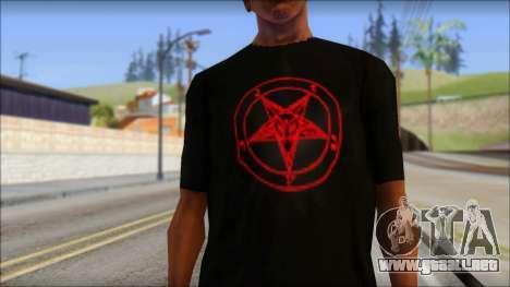Red Pentagram Shirt para GTA San Andreas tercera pantalla