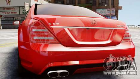 Mercedes-Benz S65 W221 AMG v1.3 para GTA 4 Vista posterior izquierda