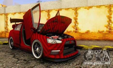 Mitsubishi Lancer EVO X Carbon Coloured para visión interna GTA San Andreas
