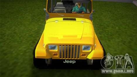 Jeep Wrangler 1986 v4.0 Fury para GTA Vice City visión correcta