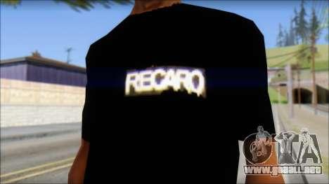Recaro T-Shirt para GTA San Andreas tercera pantalla