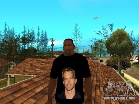 Camiseta De Paul Walker para GTA San Andreas segunda pantalla