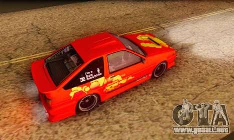 Toyota Corolla AE86 DS para visión interna GTA San Andreas