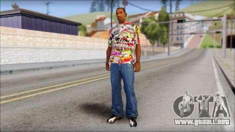 Sticker Bomb T-Shirt para GTA San Andreas tercera pantalla