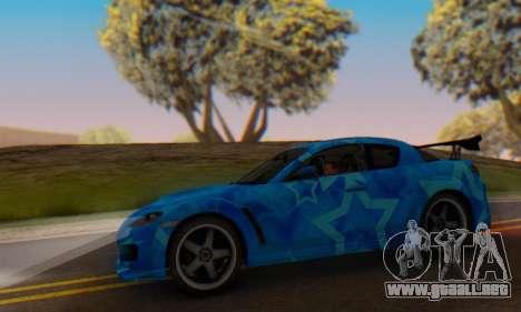 Mazda RX-8 VeilSide Blue Star para visión interna GTA San Andreas