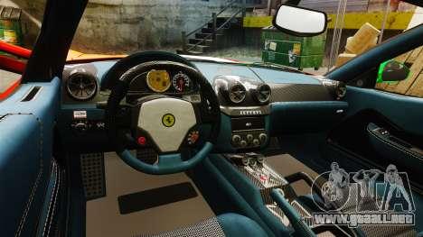 Ferrari 599 GTO PJ4 para GTA 4 vista interior