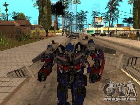 Optimus Jetpack para GTA San Andreas sucesivamente de pantalla