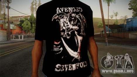 Avenged Sevenfold Reaper Reach T-Shirt para GTA San Andreas tercera pantalla