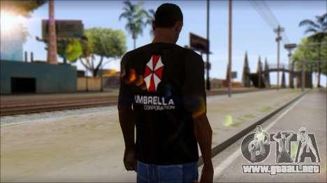 Umbrella Corporation Black T-Shirt para GTA San Andreas segunda pantalla