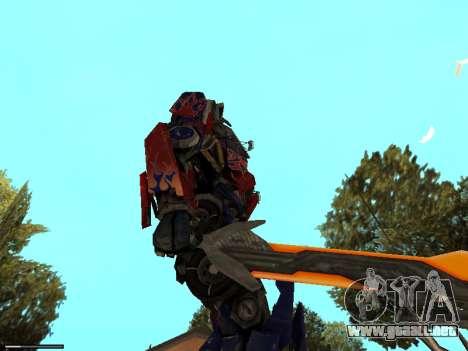 Optimus Sword para GTA San Andreas sucesivamente de pantalla