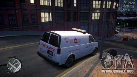 Israel MDA Ambulance para GTA 4 vista hacia atrás