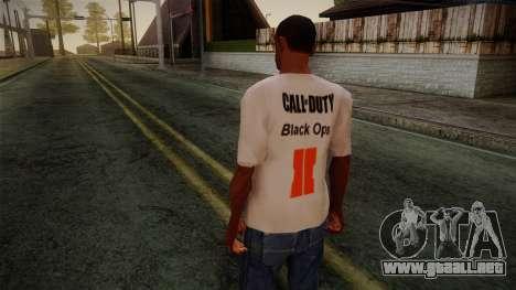 COD Black Ops II White Fan T-Shirt para GTA San Andreas segunda pantalla
