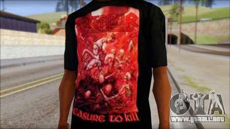 Kreator Shirt para GTA San Andreas tercera pantalla