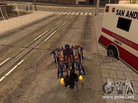 Optimus Jetpack para GTA San Andreas sexta pantalla