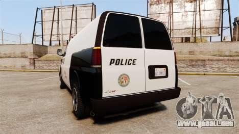 Vapid Speedo Los Santos Police [ELS] para GTA 4 Vista posterior izquierda