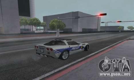 Chevrolet Corvette Z06 Police para GTA San Andreas left