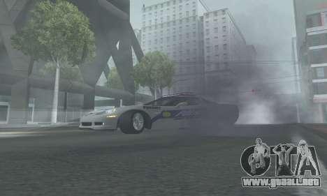 Chevrolet Corvette Z06 Police para GTA San Andreas vista posterior izquierda