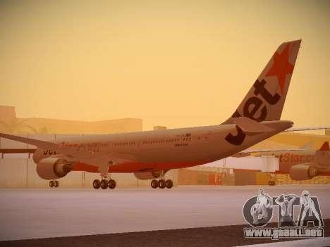 Airbus A330-200 Jetstar Airways para GTA San Andreas vista posterior izquierda