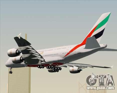 Airbus A380-841 Emirates para GTA San Andreas vista hacia atrás