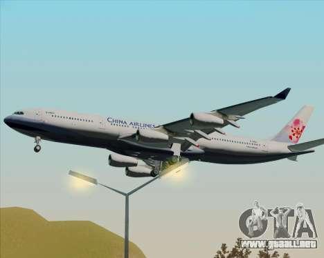 Airbus A340-313 China Airlines para GTA San Andreas vista hacia atrás
