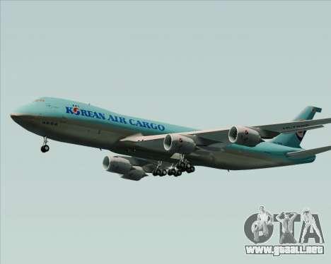 Boeing 747-8 Cargo Korean Air Cargo para GTA San Andreas vista posterior izquierda
