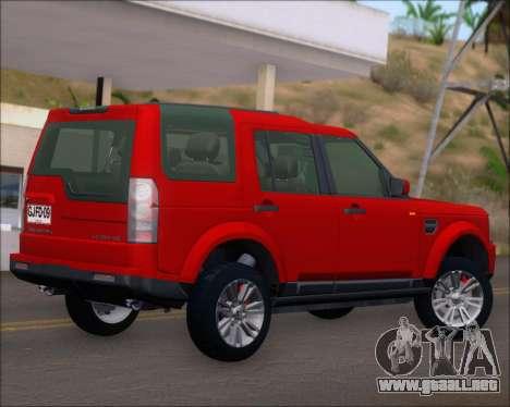 Land Rover Discovery 4 para GTA San Andreas vista hacia atrás