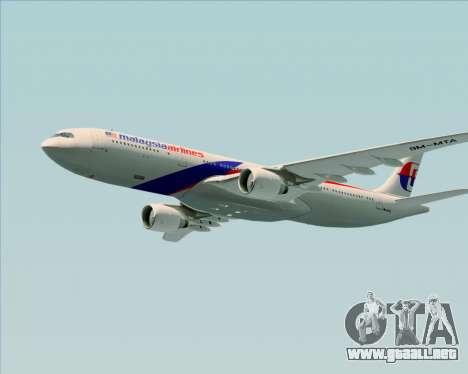 Airbus A330-323 Malaysia Airlines para vista inferior GTA San Andreas