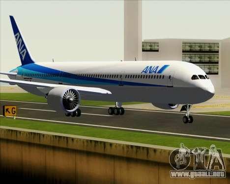 Boeing 787-9 All Nippon Airways para GTA San Andreas vista posterior izquierda