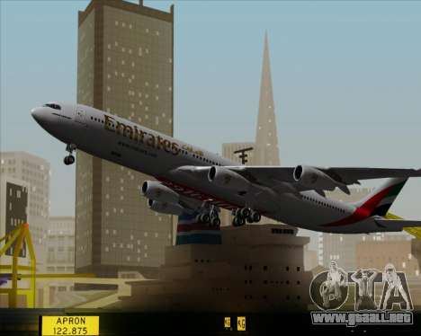 Airbus A340-313 Emirates para la vista superior GTA San Andreas