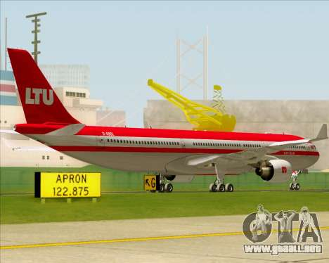 Airbus A330-300 LTU International para GTA San Andreas vista hacia atrás